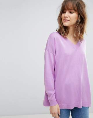 Asos DESIGN oversized sweater with v neck in eco yarn