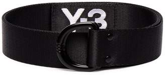 Y-3 black and white logo embroidered belt