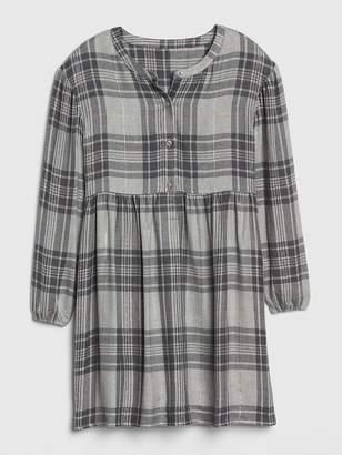 Gap Metallic Plaid Cinched-Waist Dress