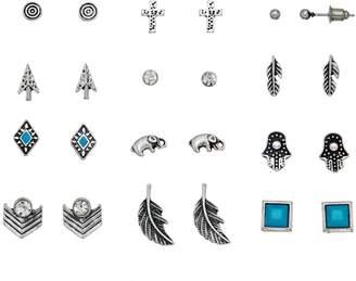 Mudd Antiqued Cross, Elephant & Hamsa Nickel Free Stud Earring Set
