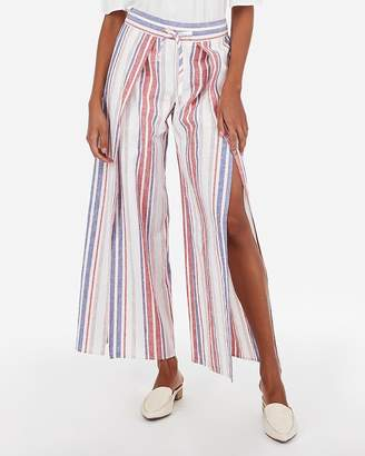 Express High Waisted Stripe Linen-Blend Split Leg Pant