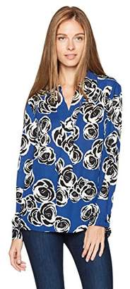 Jones New York Women's Printed L/SLV Tunic with Side Slits