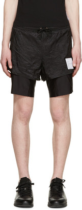 "Satisfy Black Layered Long Distance 8"" Shorts $325 thestylecure.com"