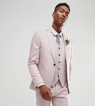 Noak slim wedding suit jacket in crosshatch