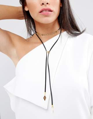 Vanessa Mooney Leather Look Bolo Choker Necklace With Gold Plating Chain And Bead Detailing