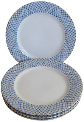 One Kings Lane Vintage Blue & White Porcelain Canapé Plates Set of 4