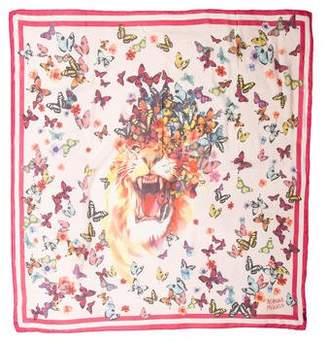 Alexander McQueen Silk Butterfly Print Scarf