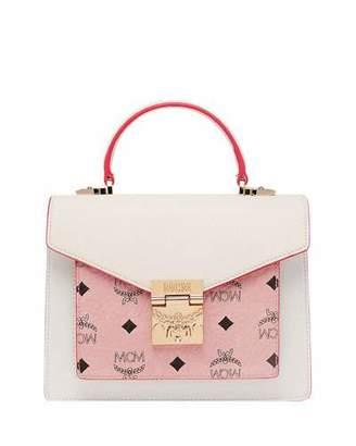 MCM Patricia Visetos Leather Satchel Bag