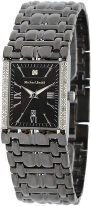 JCPenney FINE JEWELRY Personalized Dial Mens Diamond-Accent Square Black Watch