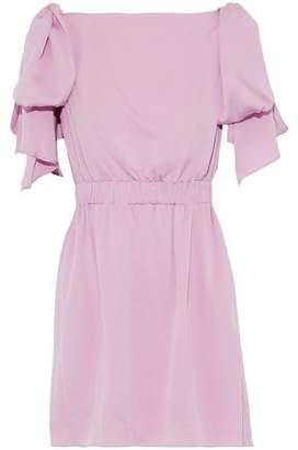 Milly Allie Bow-Detailed Stretch-Silk Mini Dress