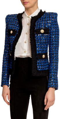 Balmain Sequined Tweed Open-Front Blazer