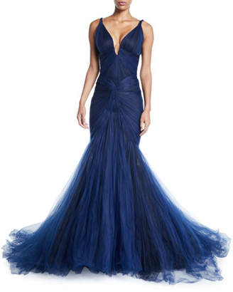 Zac Posen Plunging Tulle-Skirt Mermaid Gown