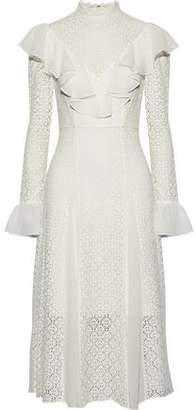 Temperley London Prairie Ruffled Chiffon-Trimmed Guipure Lace Dress