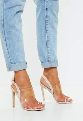 Missguided Nude Clear Strap Heeled Sandals