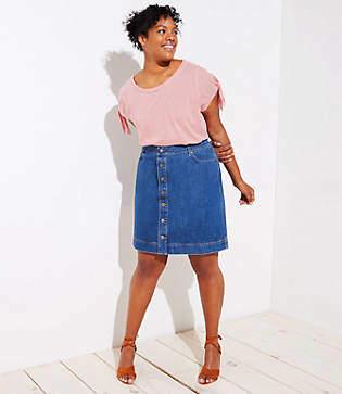 LOFT Plus Button Down Denim Skirt
