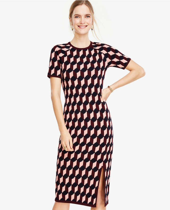 Ann Taylor Geo Jacquard Sweater Sheath Dress