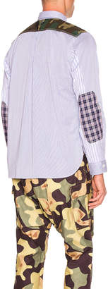 Junya Watanabe Ribstop Print Long Sleeve Shirt in White & Blue & Navy & Khaki | FWRD