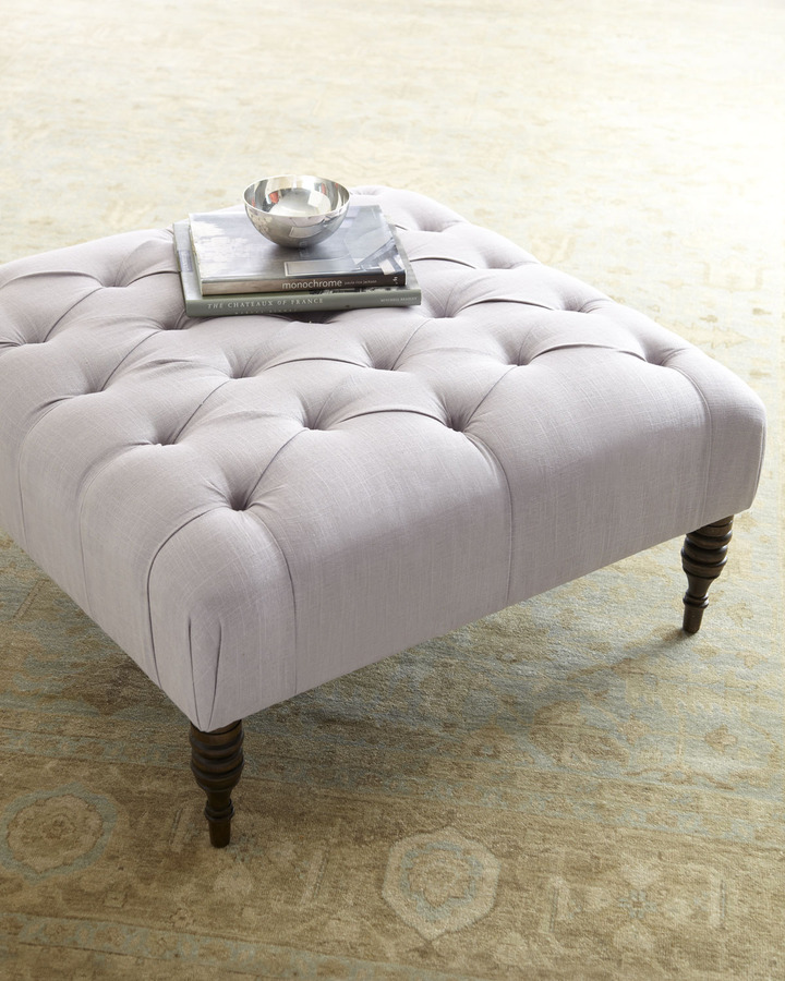 "Horchow ""Nancy"" Tufted Ottoman"