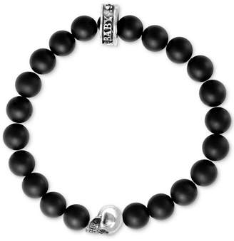 King Baby Studio Black Lava Rock Beaded Stretch Bracelet in Sterling Silver