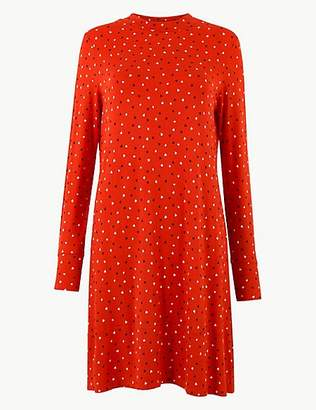 M&S Collection Printed Jersey Long Sleeve Swing Mini Dress