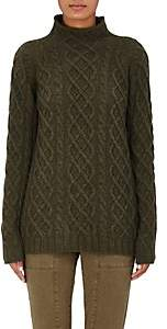 Barneys New York Women's Cashmere Cable-Knit Fisherman Sweater-Fatigue