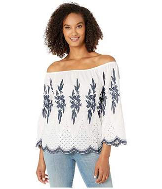 Tribal On and Off Shoulder Embroidered Blouse