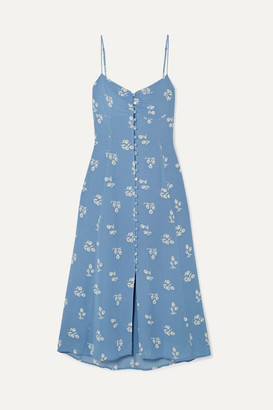 Reformation Cybill Floral-print Georgette Midi Dress - Blue