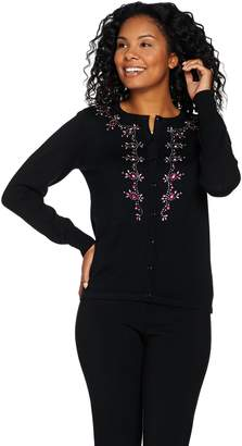 Bob Mackie Bob Mackie's Button Front Embellished Sweater Knit Cardigan