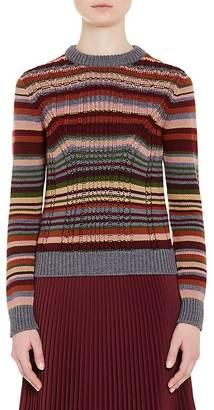 Prada Women's Striped Wool Crewneck Sweater $580 thestylecure.com