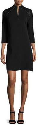 Misook 3/4-Sleeve Leather-Shoulder Shift Dress, Petite