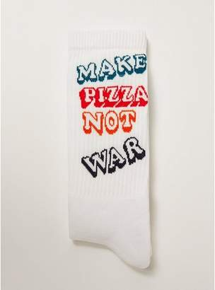 Topman Mens White Pizza Not War Tube Socks