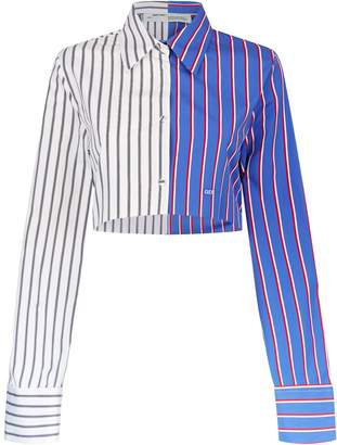 Off-White Cropped Striped Shirt