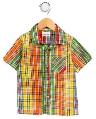 Arsène et les Pipelettes Boys' Plaid Short Sleeve Shirt