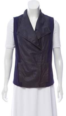 Vince Leather Accented Zip-Up Vest