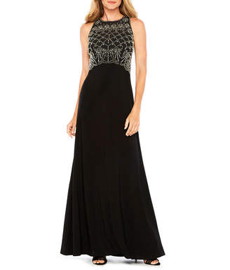Jackie Jon Sleeveless Beaded Bodice Formal Gown