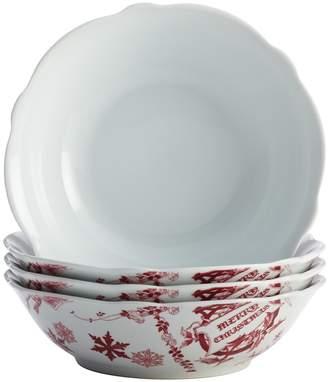 Bonjour Yuletide Garland Porcelain Fluted Cereal Bowls (Set of 4)