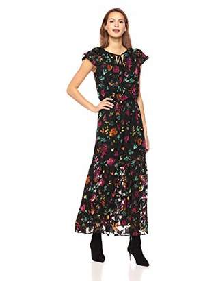 ECI New York Women's Flutter Sleeve Floral Burn Out Romantic Flowy Maxi Dress