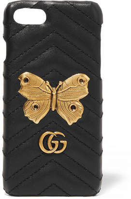 Gucci Embellished Quilted Leather Iphone 7 Case - Black