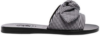 Ancient Greek Sandals Gingham Taygete Bow Sandals