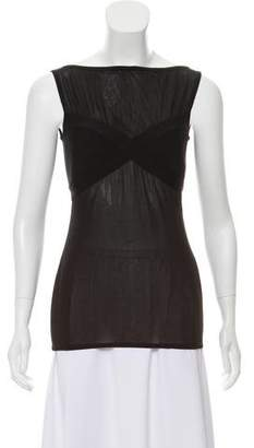 Herve Leger Semi-Sheer Sleeveless Top