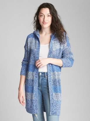 Gap Mix-Stripe Hooded Open-Front Cardigan