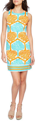 LONDON STYLE Sleeveless Pattern Shift Dress
