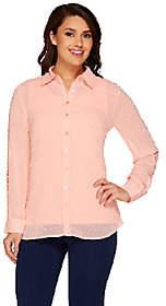 Denim & Co. Swiss Dot Tunic Shirt with KnitTank Set