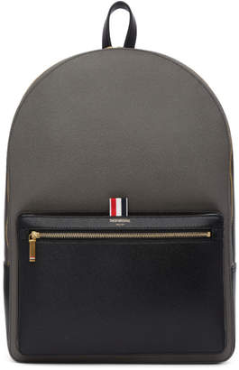 Thom Browne Black and Grey Colorblocked Unstructured Backpack