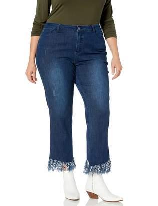 Slim Sation SLIM-SATION Women's Plus Size Zip Front 5-Packets Eringe Hem Ankle Jean