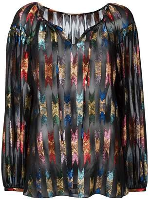 Saint Laurent patterned sheer gypsy blouse
