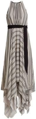 Halston Sleeveless Strip Back Striped Handkerchief Dress