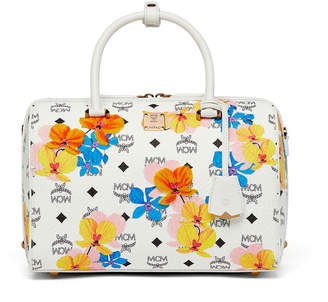 MCM Essential Boston Bag In Floral Print Visetos