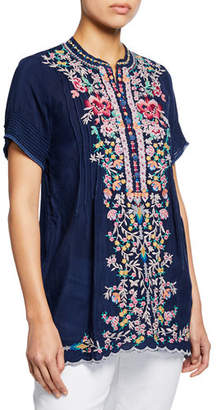 Johnny Was Plus Size Raina Floral-Embroidered Pintucked Georgette Top