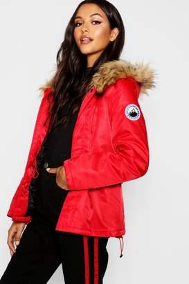 boohoo Short Sporty Luxe Faux Fur Parka
